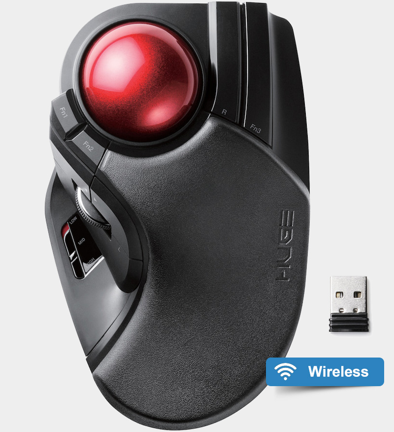 b8b02377898 Elecom M-HT1DRBK HUGE Wireless Trackball - Trackball Mouse Reviews